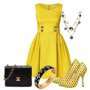 How to accessorize a yellow dress